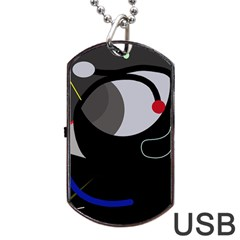 Gray Bird Dog Tag Usb Flash (two Sides)  by Valentinaart