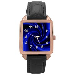 Blue Decorative Twist Rose Gold Leather Watch  by Valentinaart