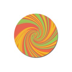 Green And Orange Twist Magnet 3  (round) by Valentinaart