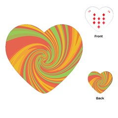 Green And Orange Twist Playing Cards (heart)  by Valentinaart