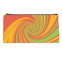 Green And Orange Twist Pencil Cases by Valentinaart