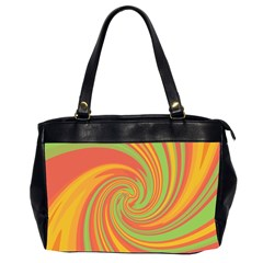 Green And Orange Twist Office Handbags (2 Sides)  by Valentinaart