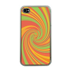 Green And Orange Twist Apple Iphone 4 Case (clear) by Valentinaart