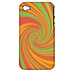 Green And Orange Twist Apple Iphone 4/4s Hardshell Case (pc+silicone) by Valentinaart