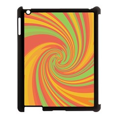 Green And Orange Twist Apple Ipad 3/4 Case (black) by Valentinaart