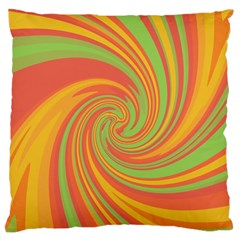 Green And Orange Twist Large Flano Cushion Case (two Sides)