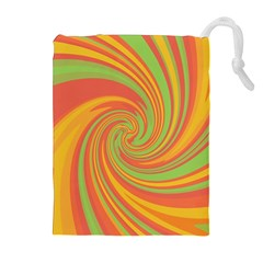 Green And Orange Twist Drawstring Pouches (extra Large) by Valentinaart