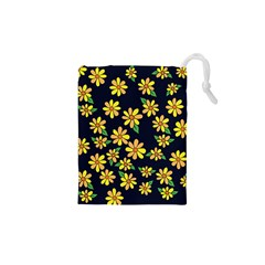 Daisy Flower Pattern For Summer Drawstring Pouches (xs)  by BubbSnugg