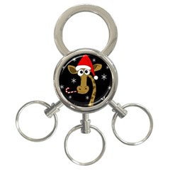 Christmas Giraffe 3 Ring Key Chains by Valentinaart