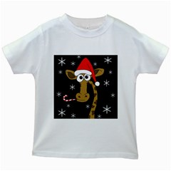Christmas Giraffe Kids White T Shirts by Valentinaart