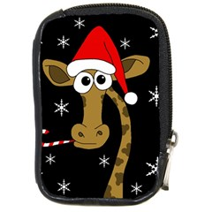 Christmas Giraffe Compact Camera Cases by Valentinaart
