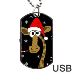 Christmas Giraffe Dog Tag Usb Flash (two Sides)  by Valentinaart