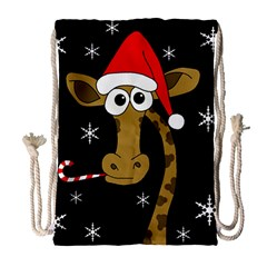 Christmas Giraffe Drawstring Bag (large) by Valentinaart