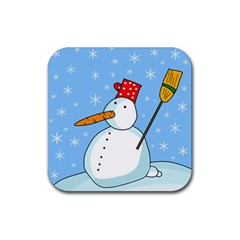Snowman Rubber Square Coaster (4 Pack)  by Valentinaart