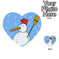 Snowman Multi Purpose Cards (heart)  by Valentinaart