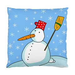 Snowman Standard Cushion Case (two Sides) by Valentinaart