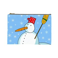 Snowman Cosmetic Bag (large)  by Valentinaart