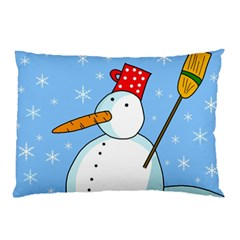 Snowman Pillow Case (two Sides) by Valentinaart