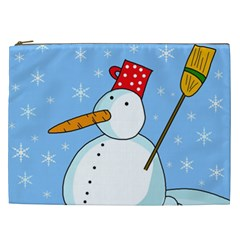 Snowman Cosmetic Bag (xxl)  by Valentinaart