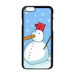 Snowman Apple Iphone 6/6s Black Enamel Case by Valentinaart