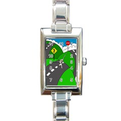 Hit The Road Rectangle Italian Charm Watch by Valentinaart