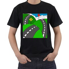 Hit The Road Men s T Shirt (black) (two Sided) by Valentinaart