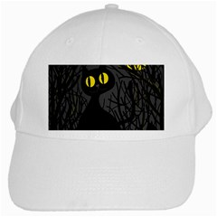 Black Cat   Halloween White Cap by Valentinaart