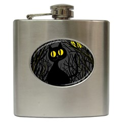 Black Cat   Halloween Hip Flask (6 Oz) by Valentinaart