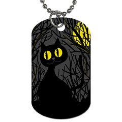 Black Cat   Halloween Dog Tag (two Sides) by Valentinaart