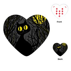 Black Cat   Halloween Playing Cards (heart)  by Valentinaart