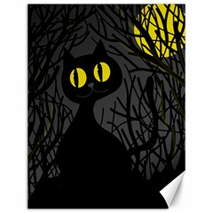 Black Cat   Halloween Canvas 12  X 16   by Valentinaart