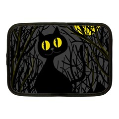 Black Cat   Halloween Netbook Case (medium)  by Valentinaart