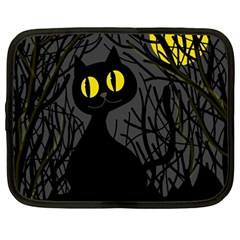 Black Cat   Halloween Netbook Case (large) by Valentinaart