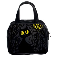 Black Cat   Halloween Classic Handbags (2 Sides) by Valentinaart