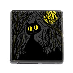 Black Cat   Halloween Memory Card Reader (square) by Valentinaart