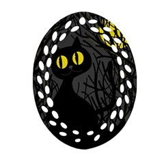 Black Cat   Halloween Ornament (oval Filigree)  by Valentinaart