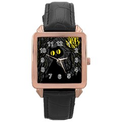 Black Cat   Halloween Rose Gold Leather Watch  by Valentinaart