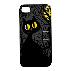 Black Cat   Halloween Apple Iphone 4/4s Hardshell Case With Stand by Valentinaart