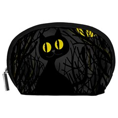 Black Cat   Halloween Accessory Pouches (large)  by Valentinaart
