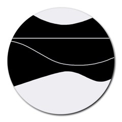 Black And White Round Mousepads