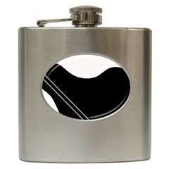 White And Black Abstraction Hip Flask (6 Oz) by Valentinaart