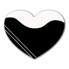White And Black Abstraction Heart Mousepads by Valentinaart