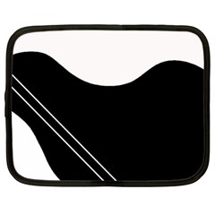 White And Black Abstraction Netbook Case (large) by Valentinaart