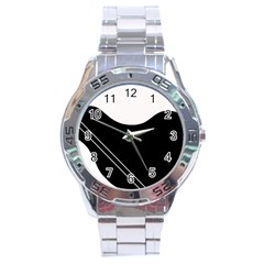White And Black Abstraction Stainless Steel Analogue Watch