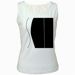 White And Black 2 Women s White Tank Top by Valentinaart