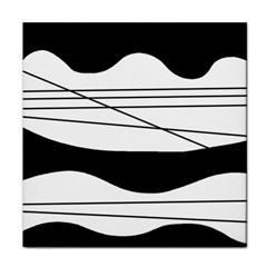 White And Black Waves Tile Coasters by Valentinaart