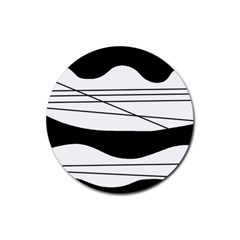 White And Black Waves Rubber Round Coaster (4 Pack)  by Valentinaart