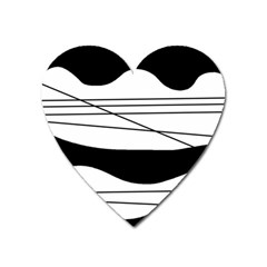 White And Black Waves Heart Magnet by Valentinaart
