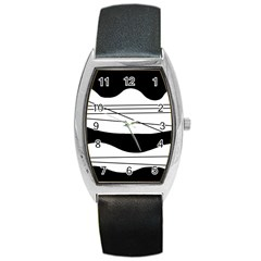 White And Black Waves Barrel Style Metal Watch by Valentinaart