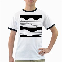 White And Black Waves Ringer T Shirts by Valentinaart